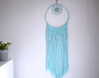 Macrame dreamcatcher, bohemian wall decor, boho wall hanging decoration, blue macrame, double dreamcatcher, blue boho macrame dreamcatcher
