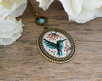 Hummingbird necklace, Cross stitch necklace, Cross stitch hummingbird pendant, Emerald mint green bird necklace, Embroidery bird pendant