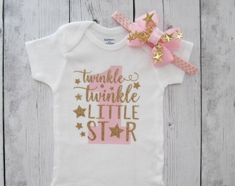 Twinkle Twinkle Little Star First Birthday Onesie in pink and gold-girl birthday, twinkle shirt, star one birthday, star headband, star halo
