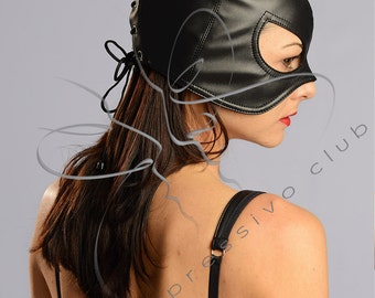Catwoman mask Leather Mistress mask / Bad Kitten mask Female submissive hood / Fetish Leather half-hood Cosplay Pussycat costume Party hood