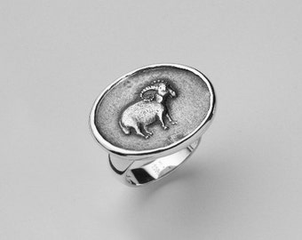Aries Ring, Medallion Signet Ring Sterling Silver Ring, Relief Coin, Aries Zodiac Jewelry Seal Ring, Birthday Cocktail Ring 6.5