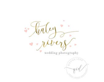 Wedding photography premade logo, Heart logo, Gold calligraphy logo for marketing, Wedding blog logo header, Instagram image profile