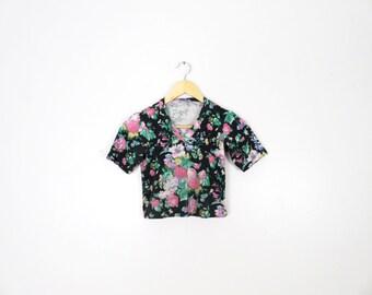 Vintage 80s/90s Floral Crop Top Size XS