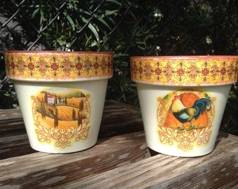 Tuscan Kitchen Flower Pots, Set of Two Planter Cache Pots, Mediterranean Decor w/ Rooster, Vineyard and Farmhouse, Birthday or Wedding Gift