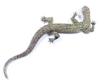 Vintage huge lizard brooch, large statement lizard pin, gecko pin, lizard jewelry, silvertone salamander pin, statement brooch, reptile