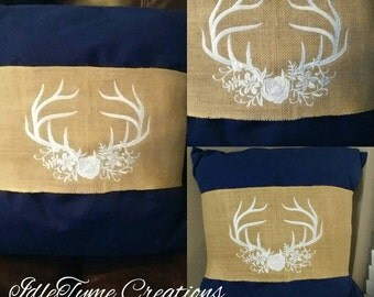 Burlap Pillow Band, Pillow Covers, Decorative Pillow Wraps, Custom Embroidered Home Decor, Rustic Wedding & Housewarming Gift Ideas.