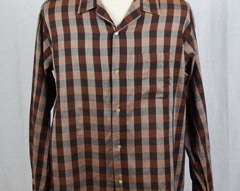 Vintage 1960's Men's Bayard Shirt - Multi-Brown Design - Textured - XL