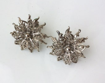 Silver Flower Earrings Silver Snowflake Earrings Snow Princess Jewellery Antique Earrings Winter Bride Earrings 1950s 1960s Vintage Retro