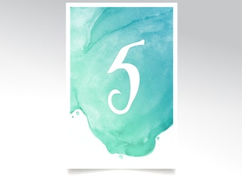 The LAUREN . Table Numbers Set 5 x7 Cards . Watercolor Wedding White Calligraphy Teal Mint Caribbean Blue Island Destination Cruise Beach