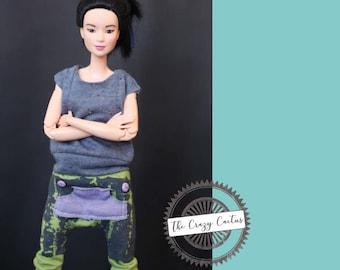 Baggy harem pants with kangaroo pocket · Handmade Barbie clothes