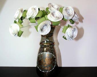 Paper Flowers, One Dozen, Sheet Music Flowers, Long Stem Rolled Flowers, Music Theme Decor, Party Decorations, Paper Flower Bouquet