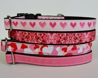 Small Dog Valentine's Day Dog Collar - Pink Hearts, Roses, Camo Hearts, Pink Saddle Stitch - READY TO SHIP!