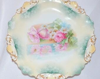 Antique RS Prussia Porcelain Plate Reflecting Poppies & Daisies Mold 115 FD 36 German Porcelain Art Nouveau Period Cottage Chic Decor