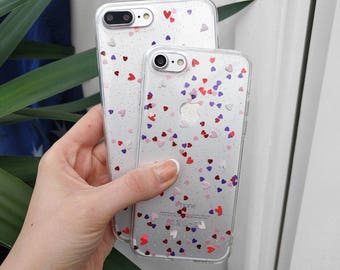 Glitter and Hearts IPhone Case for IPhone 7 7 Plus 6 6s 6 plus and 6s plus Quality Silicone TPU Protective Case