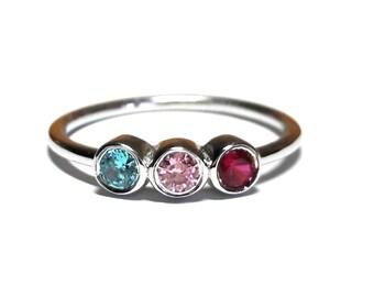 Birthstone Mothers Ring-14K Gold Birthstone Ring-14K Gold Mothers Ring-14K Gold Family Ring-Personalized Handmade Birthstone Ring