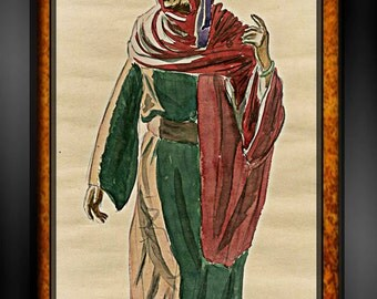 Vintage BEDOUIN MAN Nomad Sketch PAINTING Arabian Nights~Illustration~Original Costume Design Sketch~Signed Drawing