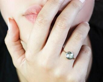 Blue Topaz Ring, Natural Gemstone, 14K Solid Gold Ring, Blue Gemstone Ring, Blue Topaz Gold Ring, Blue Stone Ring, Gold Stacking Ring GR0228