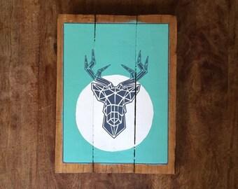 Deer origami - decorative wood - painting on wood - panel vintage panel - wall plate