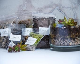 Succulent Terrarium kit CYLINDER, diy terrarium kit, succulent terrarium, garden supplies, terrarium supplies, Birthday gift
