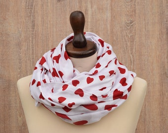 Infinity Scarf. Red Harts Scarf on White. Love Scarf. Scarf Gift for Her Stocking Stuffer