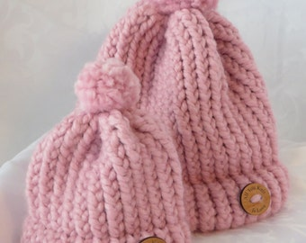 Small Hand Knit Toque / Pink Hat / Rose Pink Hand Knit Hat / Winter Hat / Warm Hat / Chunky Knit Toque / Toddler-Child & Doll Hats -SDHat102