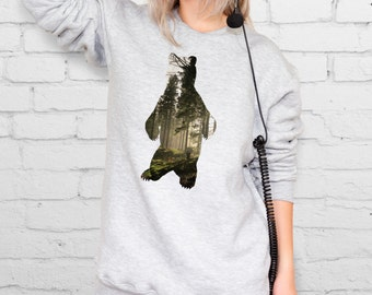 Grizzly sweatshirt Silver sweatshirt Teen sweatshirt Aesthetic clothing Black jumper Girls pullover Aesthetic Grizzly bear YPh006