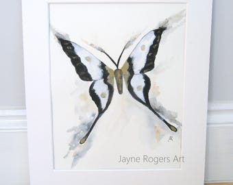 ORGINAL PAINTING - Butterfly Painting, Moth Artwork - Monochrome - Contemporary Art - UK Shop - Animal Art - Signed Affordable Art