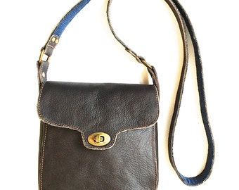 Brown Leather Bag Cross Body Raw Edge Denim Antique Brass Twistlock One of a Kind Handmade