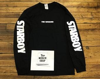 Starboy Lightning Bolt Long Sleeve Black Shirt : XO Legend of the Fall Tour B/W T-Shirt