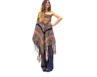 Size XS-S - Crochet Poncho in Desert- Versatile - Multi Style Tunic or Scarf with Fringe - Handmade