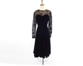 Black Velvet Dress Vintage Velvet Dress Velvet Sheer Dress 1980s Velvet Dress Sheer Party Dress Lace Bodice Dress Sheer Sleeve Dress M / L