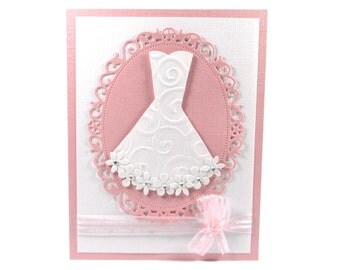 Wedding shower card, bridal shower card, bridal gown, bride, wedding dress, embossed card, pink