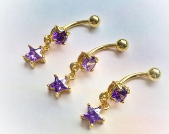 14g Gold Curved Barbell with Purple Star crystal, 14g for Navel, Belly button ring