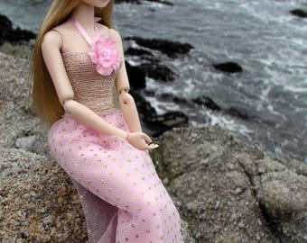 Momoko Pink & Gold Dress - Fits Many Other Dolls