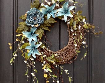 Spring Wreath Summer Wreath Floral White Branches Door Wreath Grapevine Wreath Decor-Teal Blue Lilies-Teal Blue Peony
