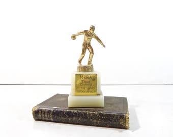 Vintage Bowling Trophy / Mid Century Sports Trophy