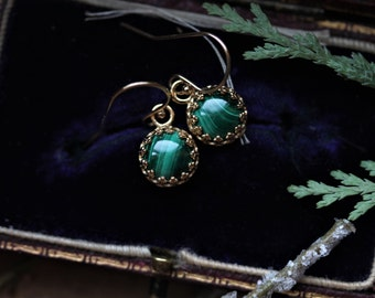 Green Malachite Earrings, Emerald Green Drop Earrings, 14 Karat Gold Earrings, Gold Crown Earrings, Antique Earrings, Regency Earrings.