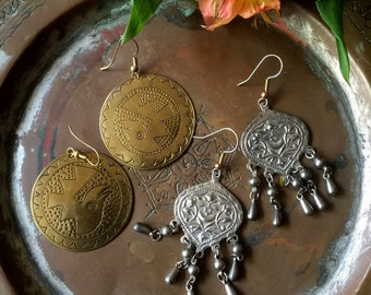Vintage 1980's Bohemian Earrings, Tribal, Gypsy, Hippie, Ethnic, Folk, Set of 2 Boho Earrings, Free US Shipping