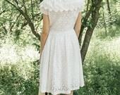 White lace dress, 1950s dress, white eyelet dress, embroidered dress , summer dress, Cotton eyelet dress size small