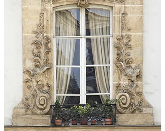 French wall decor, Paris window photography, large poster, 12x16 architectural art print, fine art photography, Beige neutral wall art 11x14