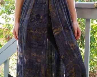 Altered 90s Navy Abstract Tribal Print Long Tunic Dress