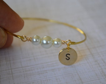 Closeout item------ -Initial Bangle Bracelet -Freshwater Pearl Bangle Bracelet - Jewelry- Bridesmaids Gift .