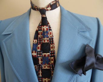 Vintage Late 1960s or Early 1970s Blue Polyester Hipster, Men's Wide Lapel Sports Jacket, Coat, Blazer by Whitehouse & Hardy for Roos Atkins