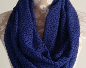 Women's Blue and Black Chiffon Scarf, Infinity Scarf for women, Women scarves,  accessories, circle scarf, gift for her