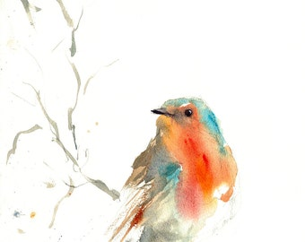 ROBIN print watercolor of a BIRD artwork birds animal artwork abstract animal art size A4