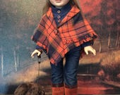 18 inch doll clothes. Doll's fall poncho, doll's tee shirt, doll jeans, doll beanie, doll sunglasses, doll's boots, handmade dog.