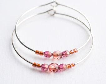 rose moon / dusky pink and silver hoop earrings
