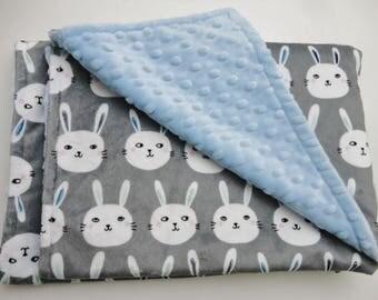 Rabbit Face Minky Baby Blanket - Ready to Ship