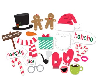 Christmas Photo Booth Props - Christmas Party Props - Holiday Photo Booth - Santa Photo Props - Party Props - Snowman - Mittens-Naughty Nice