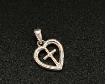 Sterling Cross Pendant - Heart Cross Sterling Pendant - Silver Heart Pendant
